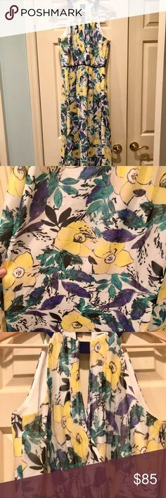 """Shoshanna Roseanne Silk Maxi Dress in Limoncello 100% silk. Fully lined. Key hole top, and key hole opening in the back. """"Limoncello"""" color in a beautiful floral pattern. Never worn. Chiffon- like texture. Full length dress. Shoshanna Dresses Maxi"""