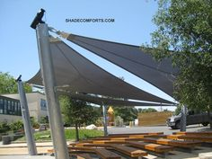 A nice looking shade structure at a school outdoor amphitheater.