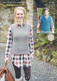 Hayfield Aran Ladies and mens slipover 7140