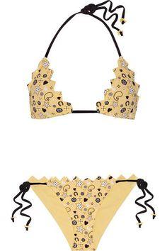 Marysia - Broadway Honolulu Scalloped Printed Triangle Bikini Top - Pastel yellow - x small