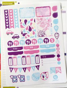 Paisley Weekly Spread Planner Stickers for Erin Condren Planner, Filofax, Plum Paper