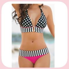 NWT Pink Itty Bitty Teeny Weeny Polka Dot Bikini This is so pretty! It is very comfortable and super cute on! It runs small ! Like a medium, not large as the tag says Boutique Swim Bikinis
