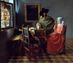 Johannes Vermeer, The Wine Glass on ArtStack #johannes-vermeer #art