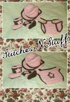 Crochet Cowgirl Set $30 Http://www.facebook.com/StitchesNStuffOR/