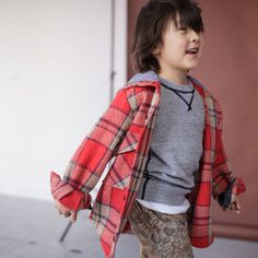 HOODED WINTER SHIRT in Wool Flannel for Girls & Boys Size 8 to 9. $78.00, via Etsy.