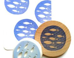 fish rubber stamp. hand carved rubber stamp. circle pattern stamp. fish in the ocean. diy gift wrapping. summer craft projects. mounted.