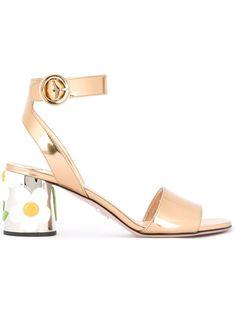 6,5cm Gold Tone Leather Sandals Spring/summer Prada