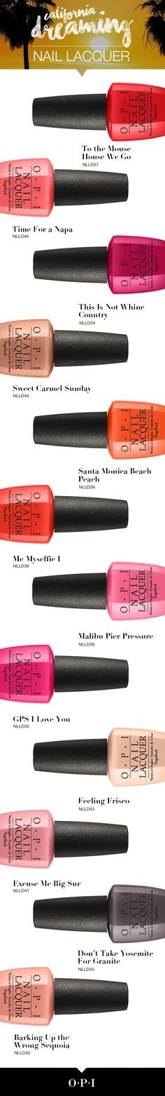 Don't wait to add the OPI California Dreaming shades to your lacquer collection. Head to OPI.com for info on where to find them.