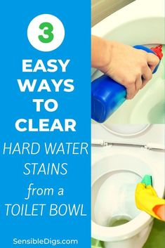 Have you noticed a dull, scaly looking buildup forming in your toilet bowl? If you have hard water at home, this is probably the culprit behind the staining you see. we'll show you 3 easy ways to get rid of it today. Cleaning Games, Cleaning Tips, How Do You Clean, How To Remove, Toilet Stains, Cleaning Schedule Printable, Hard Water Stains, Toilet Design, Making Life Easier