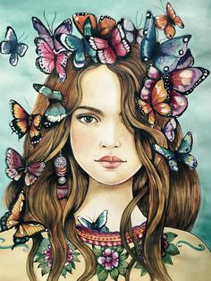 female empowerment, art print ,woman artwork, portrait artwork ,claudia tremblay Butterflies on her mind - Drawings rings aesthetic decorations Art And Illustration, Fantasy Kunst, Fantasy Art, Art Sketches, Art Drawings, Drawing Quotes, Drawing Ideas, Claudia Tremblay, Butterfly Art