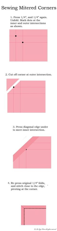 Tie Dye Diva Patterns - How to Sew Mitered Corners (for Cloth Napkins or other Squares) by