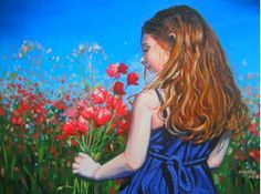 Girl with flowers. Painting on canvas 50 x 70 x 2.5 cm. Available at the price of $275.00