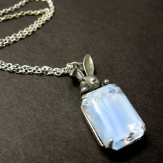 """Peek-a-boo Rabbit in Sky Blue Necklace // Vintage Glass Silver Plated Encased // Alice in Wonderland inspired // 17"""" Silver Chain"""