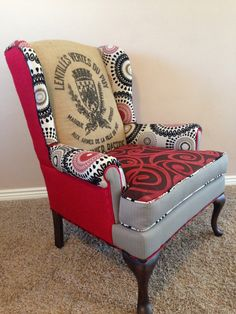 Custom Upholstered Wingback Accent Chairs with Vintage French Grain Sacks // Accent Chair // Farmhouse Decor // Red and Black Living Room Upholstery, Upholstery Cushions, Furniture Upholstery, Furniture Decor, Painted Furniture, Unusual Furniture, Upholstery Repair, Upholstery Tacks, Upholstery Cleaning