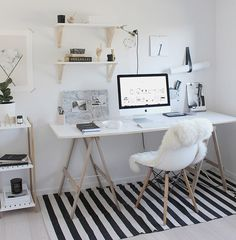 Home Decoration Ideas: Minimal Monochrome Black & White Office Space Inspiration - Simple Workspace Styling (The Design Chaser) Workspace Design, Home Office Design, Home Office Decor, Home Decor, Office Ideas, Office Setup, Small Workspace, Bureau Design, Office Lighting