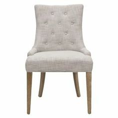 "Bring eye-catching style to your living room or study with this lovely side chair, featuring tufted linen upholstery and pickled oak-finished legs.   Product: Chair  Construction Material: Linen and wood  Color: Gray and pickled oak  Features:  Button-tufted  Dimensions: 36.4"" H x 24.8"" W x 22"" D"
