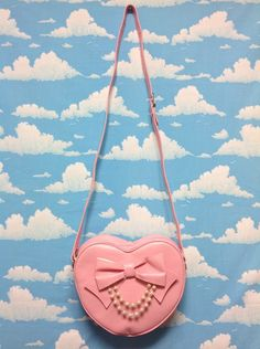 Double Pearl Chain Ribbon Heart Bag in Pink from Angelic Pretty - Lolita Desu