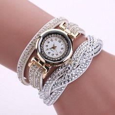 2016 New Luxury Bracelet Watch Women Casual Quartz Watch Rhinestone PU Leather Ladies Dress Watches Fashion Wristwatch Gift