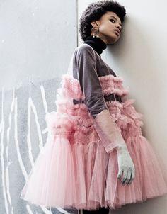 Poppy Okotcha for Molly Goddard x Dazed | Photographed by Amy Gwatkin