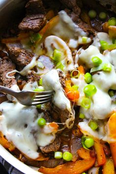 Amazing Cheesesteak Skillet. - Layers of Happiness. 20 minutes. Make with Steakumms and it's even faster.