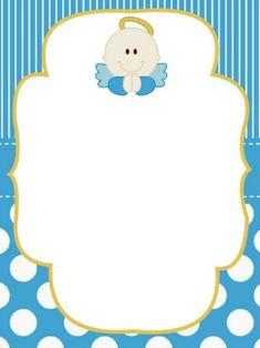 Invitaciones de Bautizo Gratis [para imprimir y personalizar] Baby Boys, Baby Boy Baptism, Baby Shawer, Baptism Invitation For Boys, Christening Invitations Boy, Baby Shower Invitations, Angel Baby Shower, Baby Shower Deco, Free Printable Invitations Templates