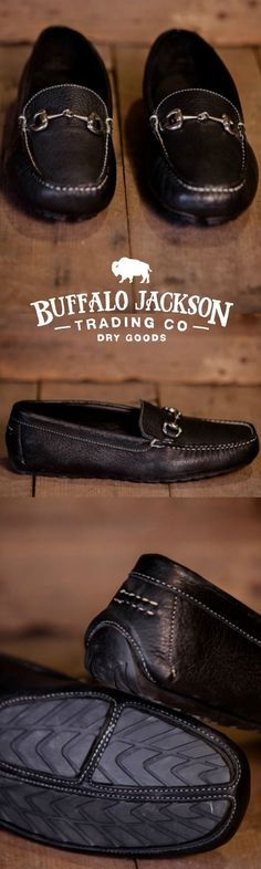 The Laramie: 100% North American Bison leather horsebit driving loafer. The casual mens shoe for the rugged gentleman. Also available in brown. (Shown here in black walnut.)