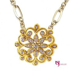 """Floral Accented Vintage 0.53 Ct Round Cut Diamond Necklace 14k Yellow Gold 17.5"""""""