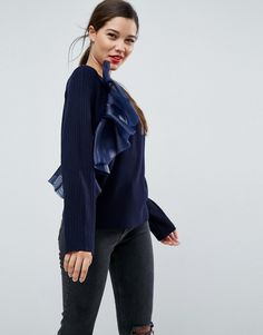 ASOS Sweater with Ruffle Detail - Navy
