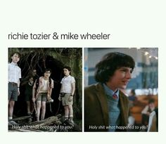 """LMAO Richie/Mike (stranger things) - Richie """"it"""" character who scared of clowns and cuses alot. Mike sad lonely boy waiting for his true love while fighting demongorgans Stranger Things Have Happened, Stranger Things Funny, Stranger Things Netflix, Beautiful Boys, It Movie 2017 Cast, Saints Memes, It The Clown Movie, Im A Loser, Sad And Lonely"""