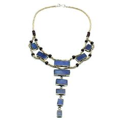 >> Traditional Middle Eastern Necklace >> Imported >> Lapis stoneinlay with mixed metal alloy and wood beads