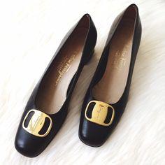 🎁 SALE❗️Vintage Salvatore Ferragamo Black Pumps Excellent used condition! Vintage Salvatore Ferragamo Black Low Heel Pumps with Gold Buckle. Narrow, Size 7 AAA. Smoke/Pet free home. No trades!! Ferragamo Shoes Heels