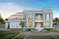 Inspired by the luxury lifestyle of the European nobility, combined with the unique architecture above the time in Mediterranean style Village House Design, Bungalow House Design, Modern Exterior House Designs, Dream House Exterior, Classic House Design, Dream Home Design, House Outside Design, Pintura Exterior, Beautiful House Plans