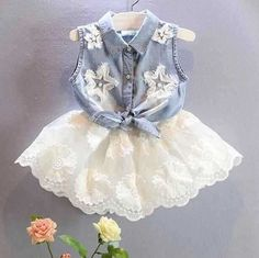 Summer Set Clothes Baby Girl Denim Vest Kids Outfit Short White Skirt Lace 2 pcs #Unbranded #CasualEverydayHoliday