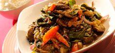 Alugbati at Talong Sa Bagoong Tapas, Pinoy Food, Vegetable Dishes, Filipino, Japchae, Beef, Vegetables, Ethnic Recipes, Foods