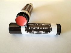 Coral Kiss Tinted Lip Balm Colored chapstick in Banana Flavor Coral Lip Stick by TaniasTorches on Etsy Tinted Lip Balm, Lip Tint, Cocoa Butter, Shea Butter, Coral Lips, Sweet Almond Oil, The Balm, Moisturizer, Kiss