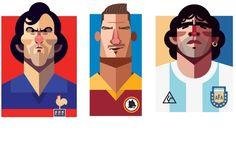 #Calcio e #arte, i #campioni di ieri e oggi nel tratto di Daniel #Nyari. Da #Totti a #Maradona a #Platini e #Zico, da #Gullit a #Zidane fino a #VanPersie e #Bale. Ecco le #icone di sessant'anni di calcio.