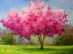 Cherry Blossom Tree Oil Painting Cherry blossom tree oil on Cherry Blossom Painting, Cherry Blossom Tree, Blossom Trees, Cherry Tree, Watercolor Landscape, Landscape Paintings, Watercolor Art, Images D'art, Sakura