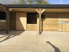 L Shape Stable Block with 3 Stables - Finer Stables Shiplap Cladding, Roof Joist, Hay Barn, External Lighting, Front Windows, Roofing Systems, Brickwork, Bespoke Design, Horses