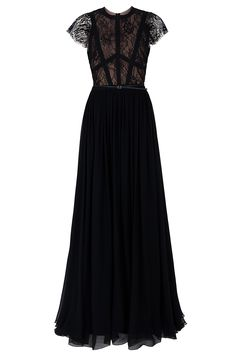 Elie Saab Cap Sleeve Lace Body Gown in Red | Lyst