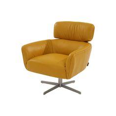 "Dana Mustard 28"" Leather Swivel Chair $600"