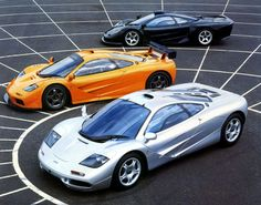 The McLaren F1 super car hit 240 mph and went from 0-60 in 3.2 seconds in its heyday. Only about 106 were produced between 1992 and 1998. It's famed for its batwing doors and its 627 horsepower, V12 engine. Its base price was around $970,000. Shown here is a 1993 McLaren F1.