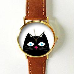 Piepende zwarte kat Watch, Vintage-stijl lederen horloge, Retro horloge, vriendje Watch, vrouwen mannen horloge,