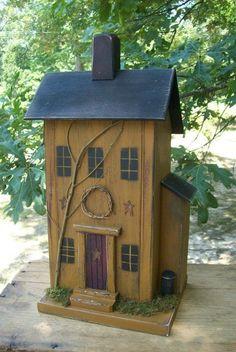 Vintage Folk Art Worn Mustard Primitive Saltbox Birdhouse Garden #Country