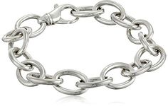 "Zina Sterling Silver ""Wired"" Simple Oval Link Bracelet 