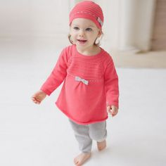 Knitted set - dress and legging – ukookoo Girl Scout Crafts, Spring Collection, Girl Scouts, Outfit Sets, All In One, Boy Or Girl, Kids Fashion, Knitting, Red Colour