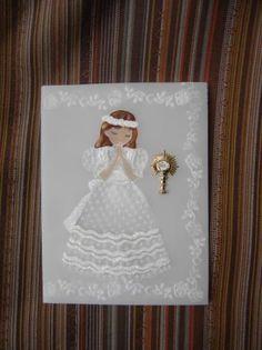 invitacion para la recepcion o fiesta de primera comunion invitacion de primera comunion papel pergamino 180gr.,tiza pastel   acrilicos,diamantina repujado,pintado a mano