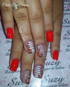 Unhas decoradas em vermelho Nails Inspiration, Nail Art, Beauty Ideas, Amanda, Pink, Facebook, Hair, Design, Bridal Nail Design