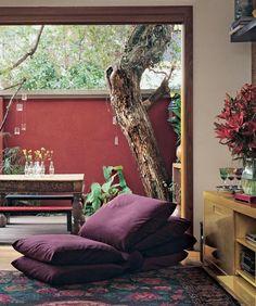 golden cabinet + purple seating