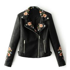 Black Lapel Embroidery Floral Detail Leather Look Biker Jacket ($52) ❤ liked on Polyvore featuring outerwear, jackets, tops, coats, leather jacket, motorcycle jacket, biker jackets, floral jacket, faux-leather jackets and floral embroidered jacket