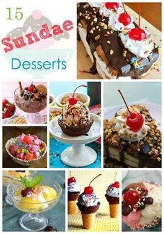 15 Sundae Desserts that are sure to please your palate. When it's summertime and you're craving some cold ice cream you may want to add some toppings and make a homemade ice cream sundae! They are so easy to make and are delicious! Sundae Recipes, Ice Cream Recipes, Cake Recipes, Dessert Recipes, Mini Desserts, Delicious Desserts, Slow Cooker Desserts, Brownies, Ice Cream Pops